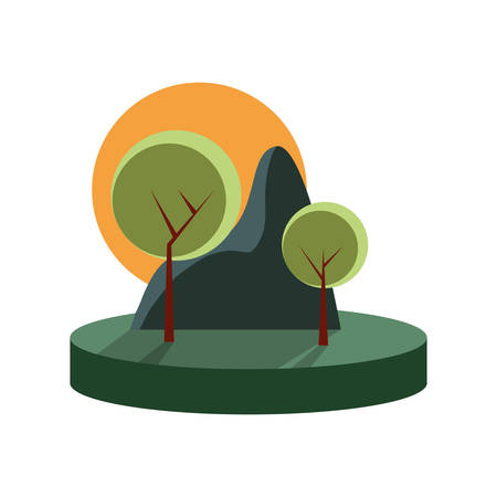 green mountain trees landscape nature vector illustration