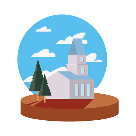 building pine trees clouds sky panorama vector illustration