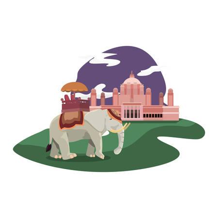 indian royal elephant taj mahal monument vector illustration Illustration