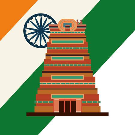 chennai city monument flag indian vector illustration