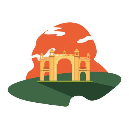 mumbai gateway india monument landscape vector illustration