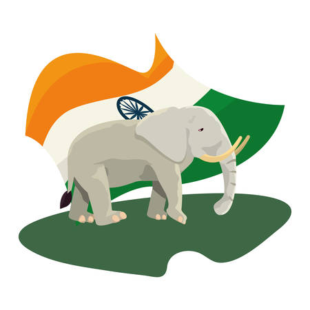 indian royal elephant and flag emblem vector illustration