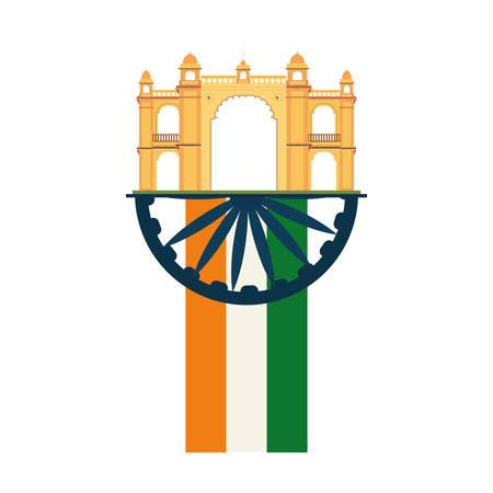 mumbai gateway flag india monument vector illustration