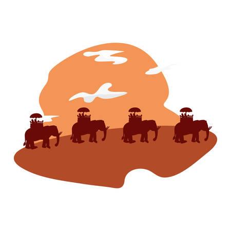 indian elephants in the landscape silhouette vector illustration Illustration