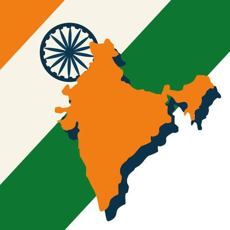 indian map with flag wheel landmark vector illustration