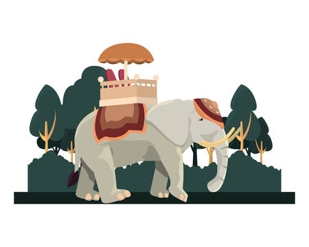 indian royal elephant landscape nature vector illustration