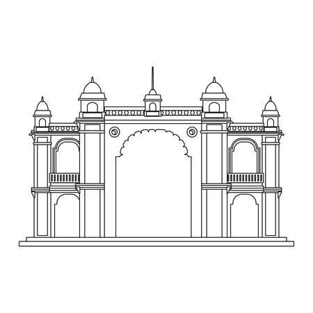 mumbai gateway india monument on white background vector illustration