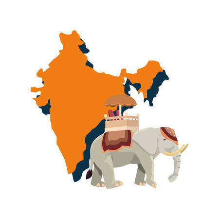 map and indian royal elephant vector illustration Illustration
