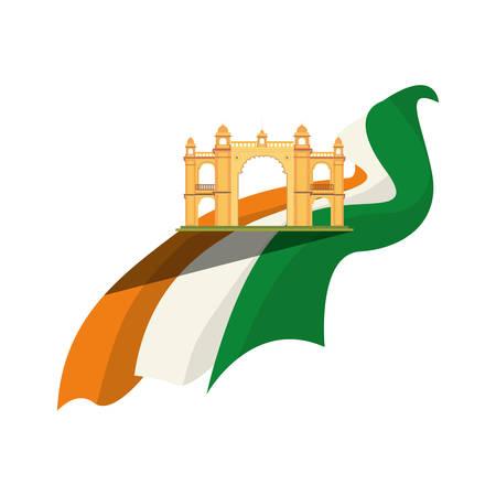 mumbai gateway india monument and flag vector illustration