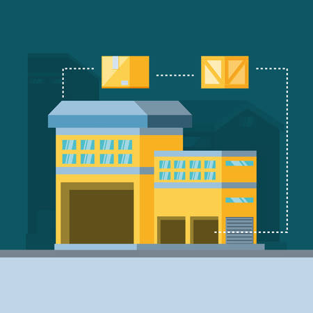 warehouse building with delivery boxes vector illustration design Illustration