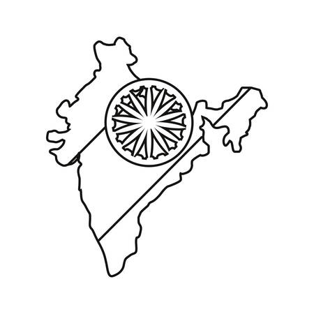 indian map wheel landmark on white background vector illustration Ilustração