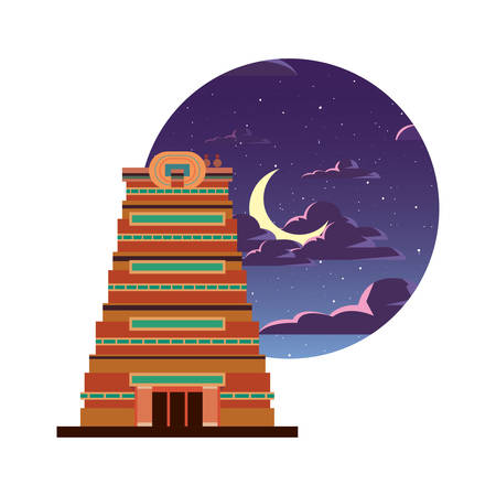 chennai city monument indian night moon vector illustration