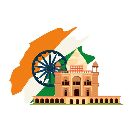 taj mahal temple delhi flag indian vector illustration