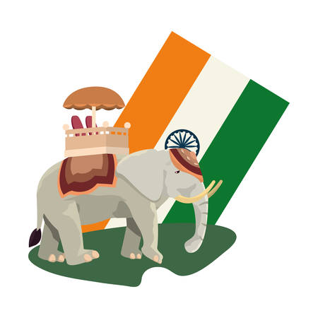 flag indian royal elephant symbol vector illustration