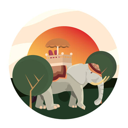 indian royal elephant tree landscape vector illustration 向量圖像