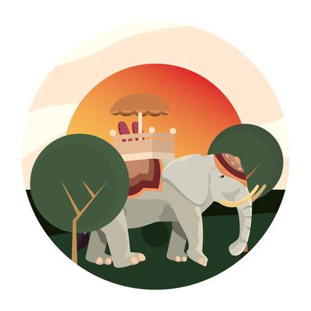 indian royal elephant tree landscape vector illustration Illustration