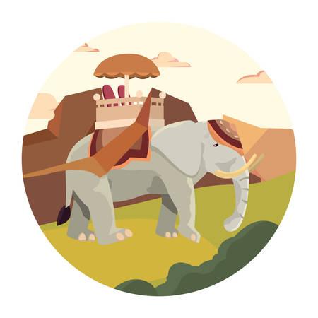 indian royal elephant landscape nature vector illustration