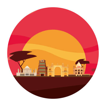 welcome india monuments landmark traditional vector illustration