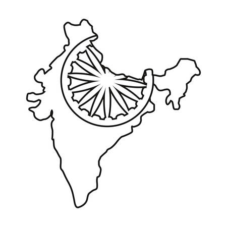 indian map wheel landmark on white background vector illustration Illustration
