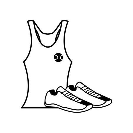 female tennis uniform shirt with shoes vector illustration design