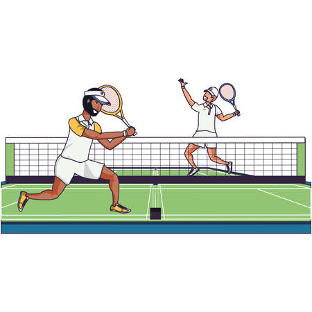 men playing tennis in sport court vector illustration design