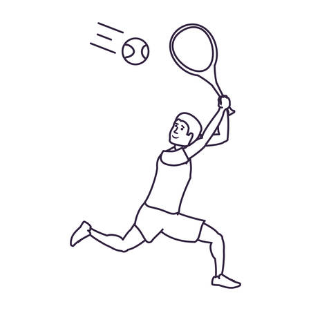 man tennis playing with racket vector illustration design