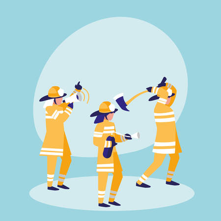 group of firefighters avatar character vector illustration design 向量圖像