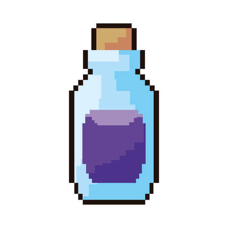 pixel video game bottle potion vector illustration