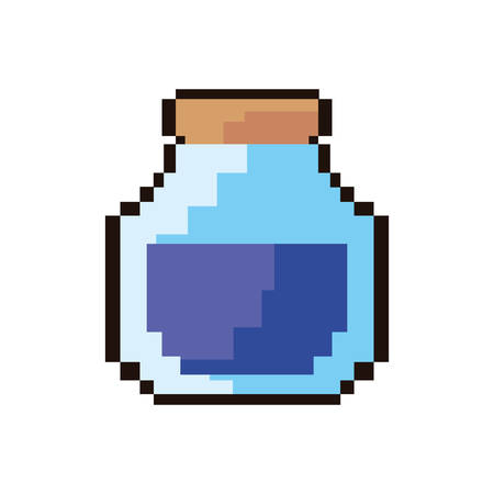 pixel video game bottle potion vector illustration