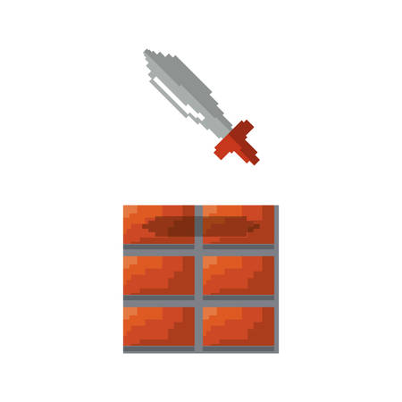 sword brick wall video game vector illustration