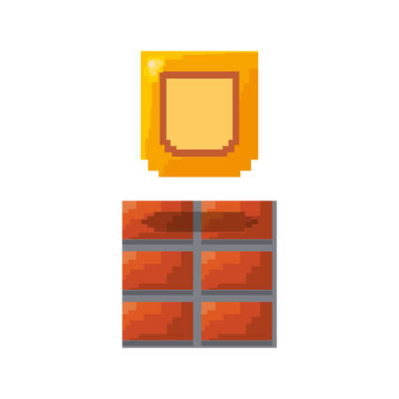 shield brick wall video game vector illustration Ilustração