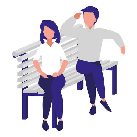 man and woman sitting on bench over white  background, colorful design. vector illustration Illustration