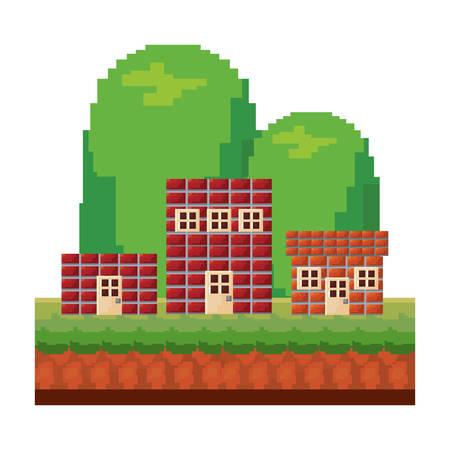 houses brick level video game vector illustration Standard-Bild - 110533686