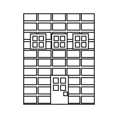 brick wall facade door video game vector illustration