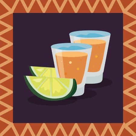 frame glass beakers lemons decoration vector illustration Illustration