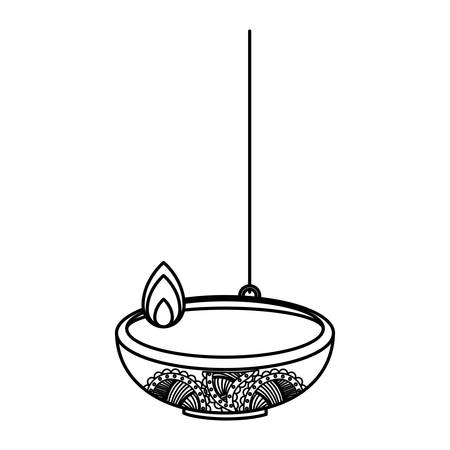 diwali lamp icon over white background, vector illustration