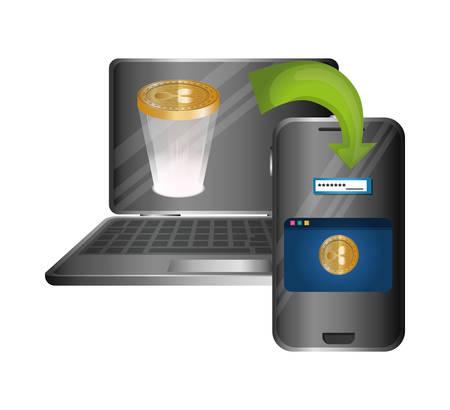 laptop and smartphone with ripple vector illustration design Ilustração