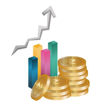 statistics bars with zcash vector illustration design
