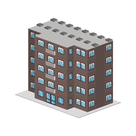 hotel building facade isometric vector illustration design
