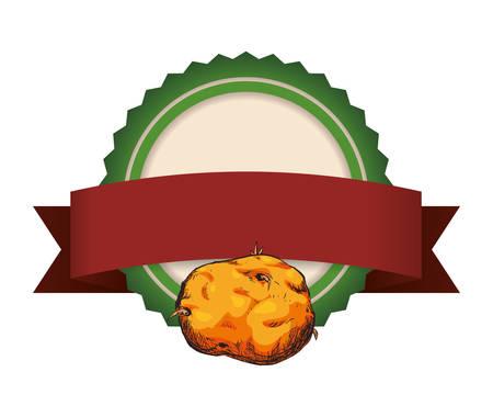 fresh potatoe vegetarian food frame vector illustration design Illustration