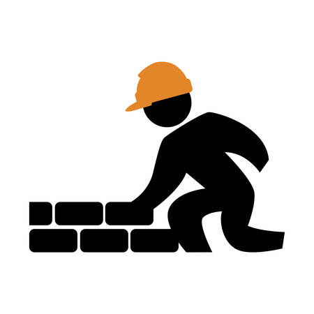 worker builder with wall silhouette avatar vector illustration design