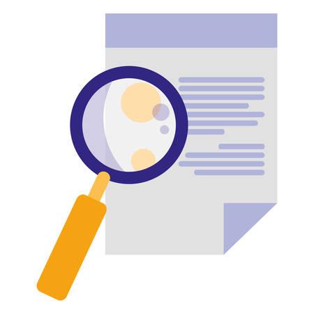 paper document with magnifying glass vector illustration design Illusztráció