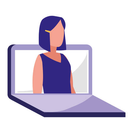 young woman sitting in laptop vector illustration design