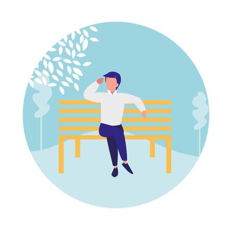 Jeune homme assis dans la chaise de parc design illustration vectorielle Vecteurs