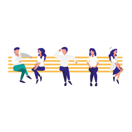young people sitting in the park chair vector illustration design