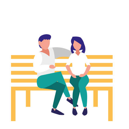 young couple sitting in the park chair vector illustration design