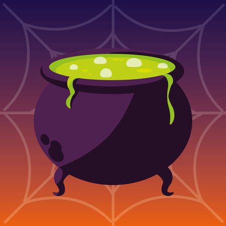 happy halloween cauldron icon vector illustration design