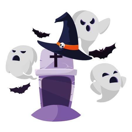 halloween gravestone with ghost vector illustration design