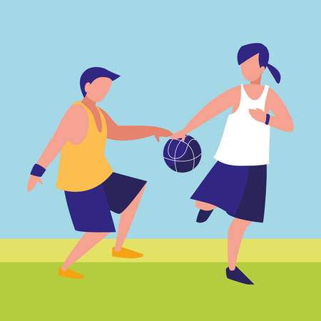young couple playing basketball vector illustration design