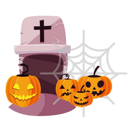 halloween gravestone with pumpkins vector illustration design